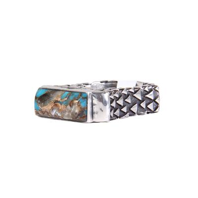 Dian Malouf's Rectangular Hammered Turquoise Sterling Sliver Ring