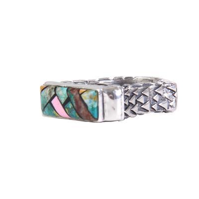 Dian Malouf's Rectangular Rhodonite and Turquoise Mosaic Ring