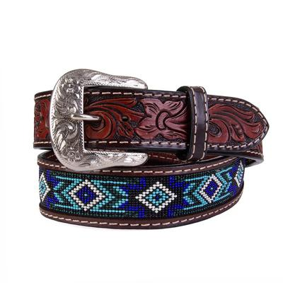 Twisted X Men's Blue Beaded Leather Belt