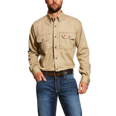 Ariat Men's Solid Khaki Fr Vent Work Shirt