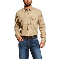 Ariat Men's Solid Khaki FR Vent Work Shirt