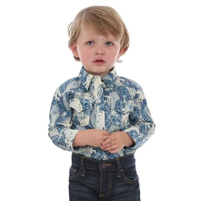 Wrangler Infant's Blue Print Snap Onesie Shirt