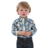 Wrangler Infant's Blue Print Snap Onesie Shirt