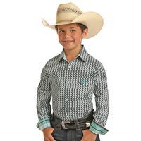Panhandle Boy's Black and Mint Print Snap Shirt