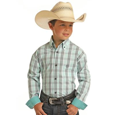 Panhandle Boy's Mint Plaid Shirt