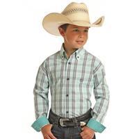 Panhandle Boy's Mint Plaid Shirt