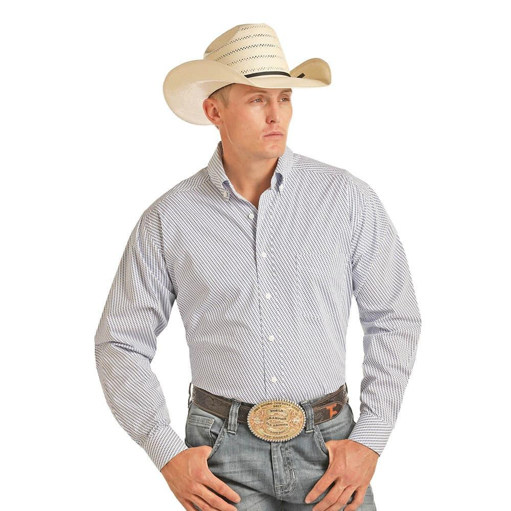 eb8d5af4e Panhandle Mens Tuf Cooper White And Blue Print Shirt