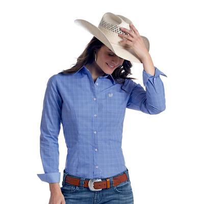 Panhandle Slim Women's Blue Perlova Vintage Ombre Plaid Shirt