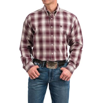 Cinch Men's Gray and Burgundy Ombre Plaid Shirt