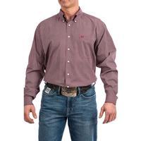 Cinch Men's Burgundy Geometric Print Shirt