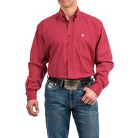 Cinch Men's Red and Gray Geometric Print Shirt