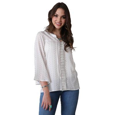 Cruel Girl Women's White Crochet Trim Peasant Top