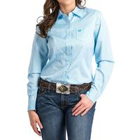 Cinch Women's Light Blue and White Micro Stripe Shirt
