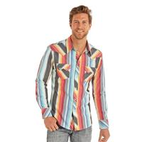Rock & Roll Denim Men's Long Sleeve Serape Stripe Snap Shirt