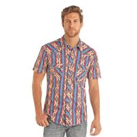 Rock & Roll Denim Men's Aztec Stripe Print Snap Shirt
