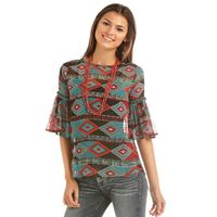 Rock & Roll Denim Women's Ruffle Aztec Top