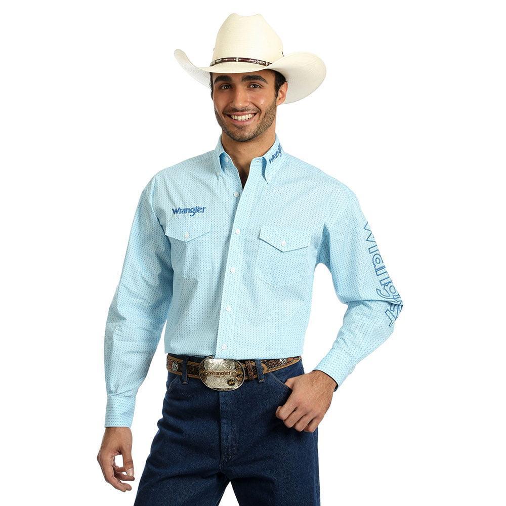 Wrangler Men S Light Blue Logo Long Sleeve Shirt