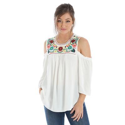 Wrangler Women's Cold Shoulder Embroidered Top