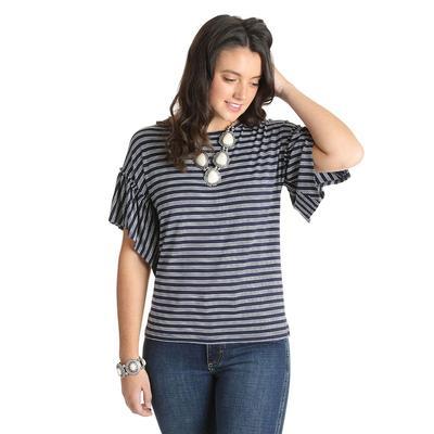 Wrangler Women's Horizontal Striped Ruffle Sleeve Top