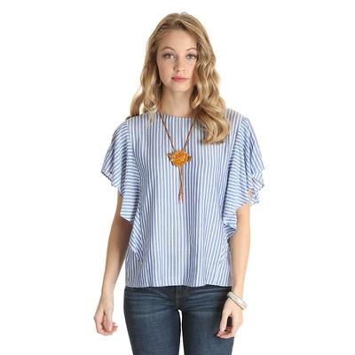 Wrangler Women's Striped Ruffle Sleeve Top