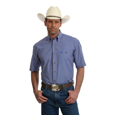 Wrangler Men's George Strait Blue Plaid Shirt