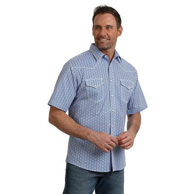 Wrangler Men's 20X Competition Advanced Comfort Blue And White Shirt