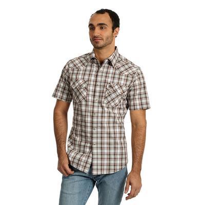 Wrangler Men's Brown Plaid Retro Snap Shirt