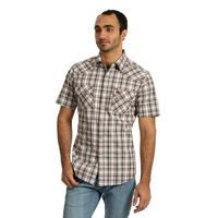 Wrangler Men's Brown Plaid Retro Snap Shirt
