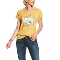 Ariat Women's Ochre USA Map Tee