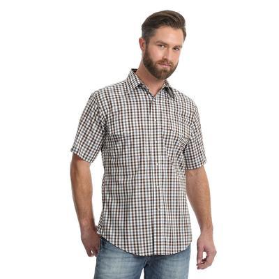 Wrangler Men's Brown and White Plaid Wrinkle Resistant Shirt