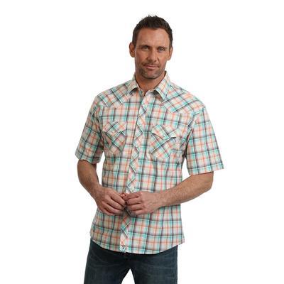 Wrangler Men's 20X Orange Plaid Competition Advance Comfort Shirt