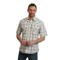 Wrangler Men's 20X Orange Plaid Competition Advance Comfort Shirt