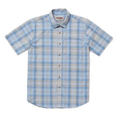 Wrangler Men's Chambray Blue Plaid Rugged Wear Shirt