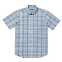 Wrangler Men's Chambray Blue Plaid Rugged Wear Shirt