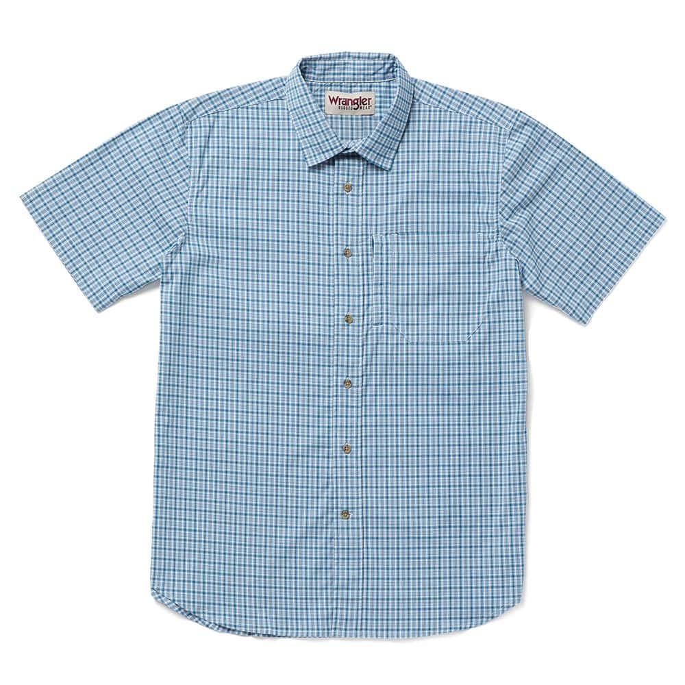 d733604a0 Wrangler Men's Blue and White Plaid Rugged Wear Shirt
