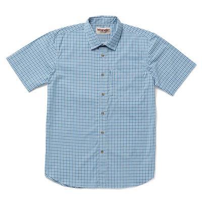 Wrangler Men's Blue and White Plaid Rugged Wear Shirt