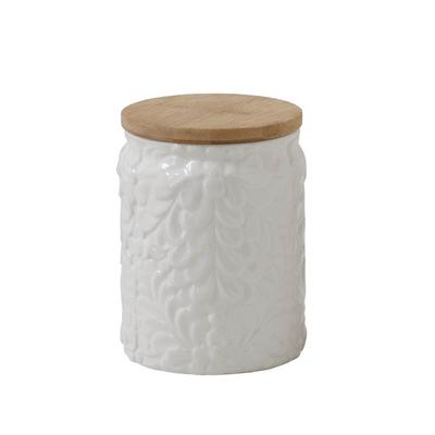 Small Floral Embossed Ceramic Canister