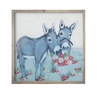 Wood Framed Donkey & Flowers Wall Decor
