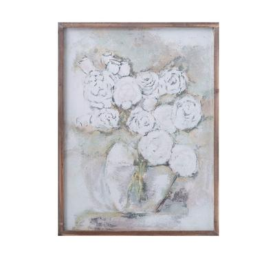 Wood Framed Flowers In Vase Wall Decor