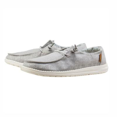 Hey Dude Women's Wendy Chambray Light Grey Linen Shoes