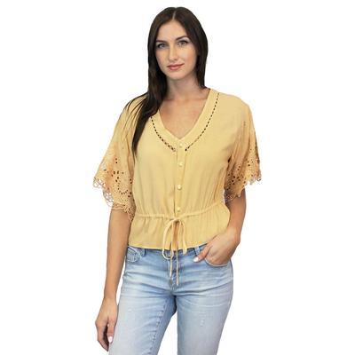 Dear John Women's Mellow Yellow Lace Sleeve Top