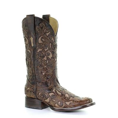 Corral Women's Brown Inlay With Studs and Embroidery Squared Toe Boot