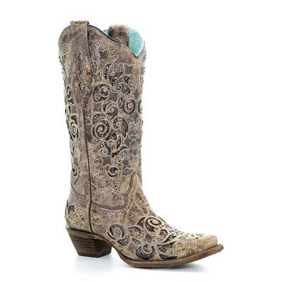 Corral Women's Aracely Brown Glitter Inlay Snip Toe Boot
