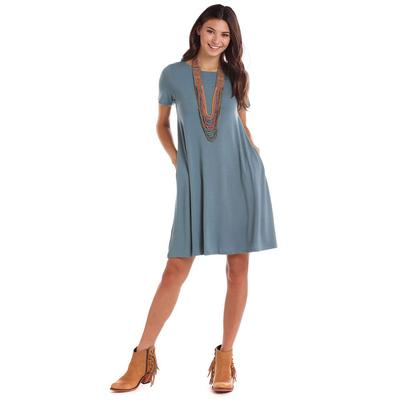 7f494315e042 Panhandle Women's Short Sleeve Knit Swing Dress DENIMBLUE ...