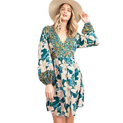 Kori America Women's Mixed Floral Button Down Dress