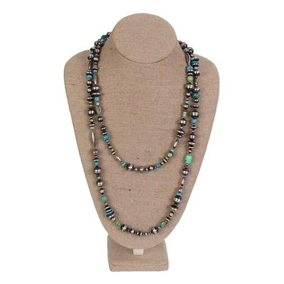 Navajo Pearl and Multi-Turquoise Stone 60 Inch Necklace