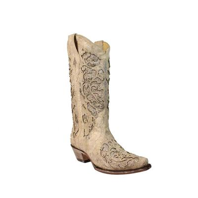 Corral Women's White Glitter Inlay Crystal Boots