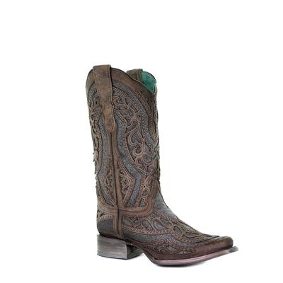 Corral Women's Square Toe Brown & Grey Inlay Boots