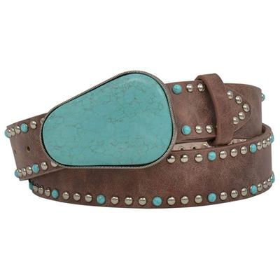 3d Women's Angel Ranch Brown Turquoise And Silver Studded Belt
