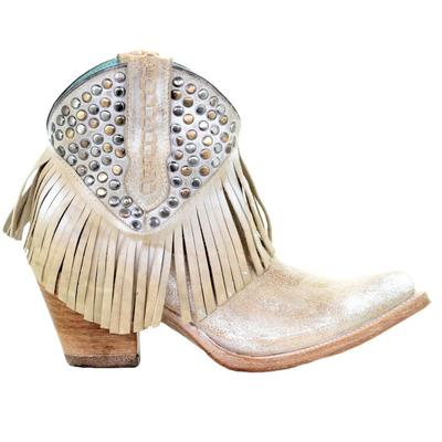 Corral Women's White Studded Fringe Bootie Shoes